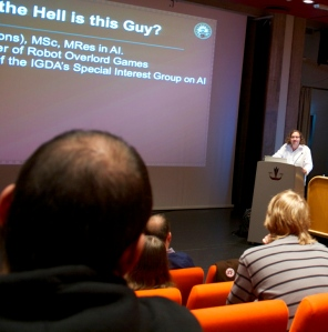 Luke Dicken introducing himself at Konsoll in Bergen Norway