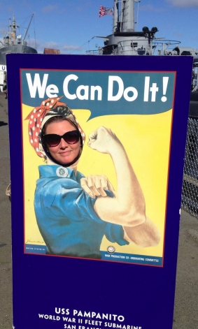 "Linn Sovig with sunglasses in a ""We Can Do It!"" poster"
